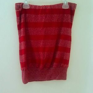❤BODY CENTRAL red strapless tube top shirt SZ S
